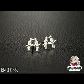 2 bird couple silver earrings
