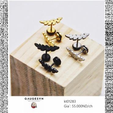 Piercing black laurel earrings