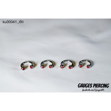 Earrings U red stone beads