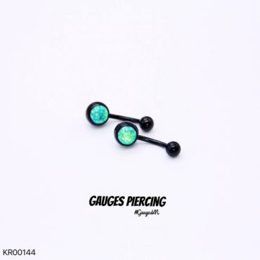 Thailand black navel piercings green stone OPAL