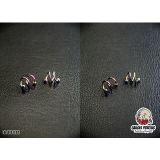 2 twisted metal rings round earrings