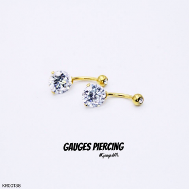 Navel piercings Solid stone attached 18k GOLD SWAR