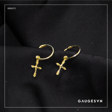 Thai silver Gold plated fall cross piercings