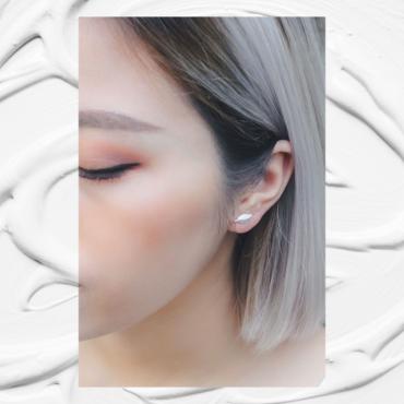 the leaf silver earrings