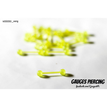 Yellow silicon tongue piercings