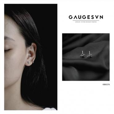 Thai silver earrings Cross chrome heart