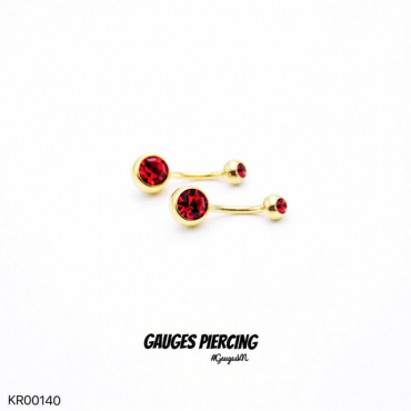 Navel piercings Solid red stone studded 18k GOLD S