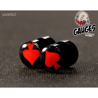 Earrings shaped like a red Spade