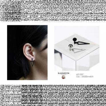 Black earrings triangular hollow