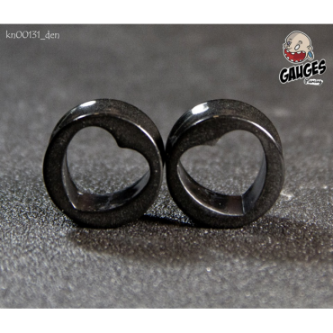 Hollow heart black stretching jewellery