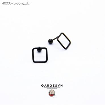 Black square piercing earrings