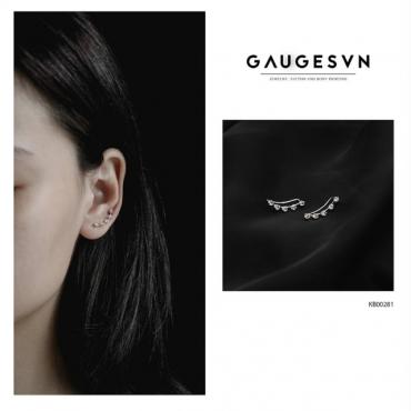 White stone silver earrings