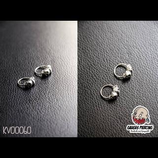 Silver skull ring earrings