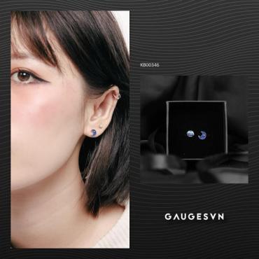 silver earrings sun - blue moon