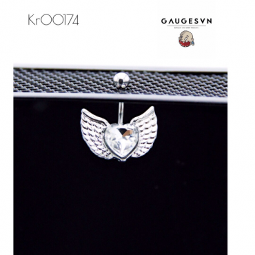 Heart navel piercings white stone wings