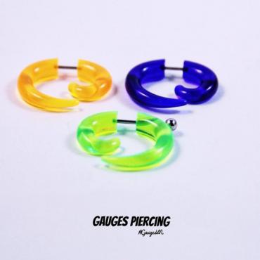 Fake plugs & tunnels torsion transparent green