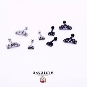 3 black stone earrings