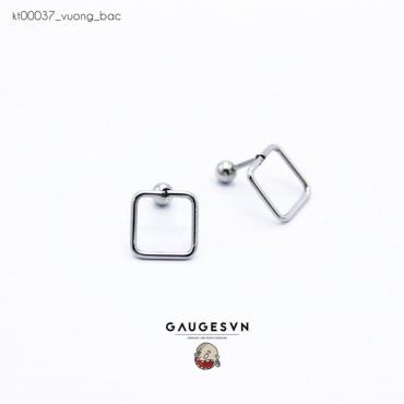 Square ear piercing silver
