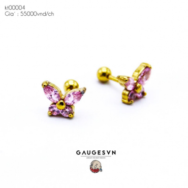 Piercing pink butterfly stone pink stone