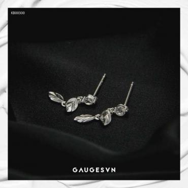 White leaves silver earrings